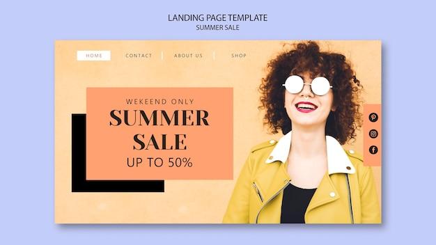 Modelo de página de destino de venda de verão