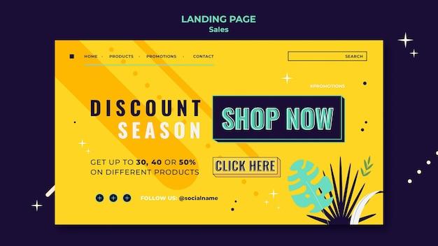 Modelo de página de destino de vendas com cores brilhantes