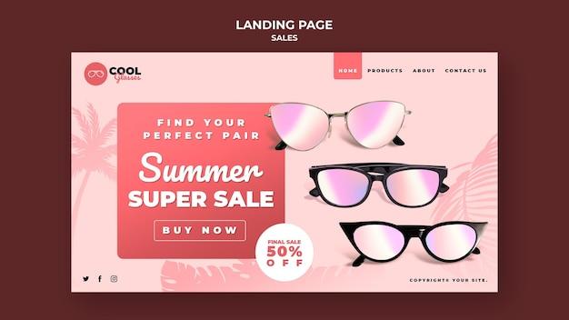 Modelo de página de destino de vendas de óculos