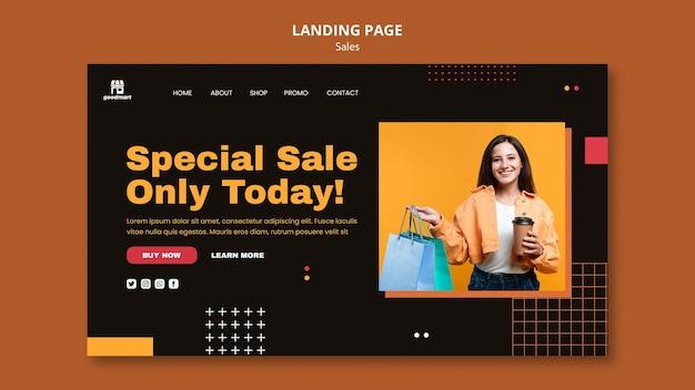 Modelo de página de destino de vendas especiais