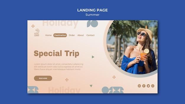 Modelo de página de destino de viagens de verão