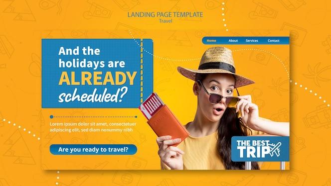 Modelo de página de destino de viagens
