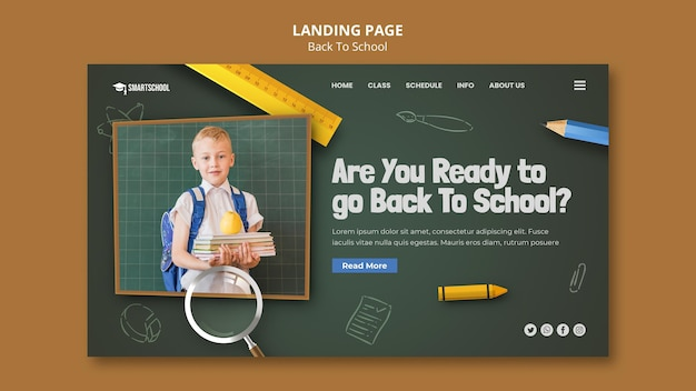 Modelo de página de destino de volta à escola