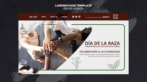 Modelo de página de destino dia de la raza