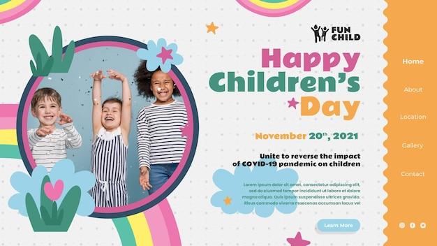 Modelo de página de destino divertida e colorida para o dia das crianças
