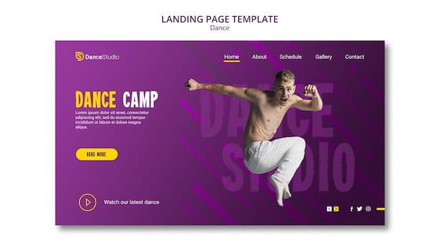 Modelo de página de destino do acampamento de dança