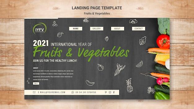 Modelo de página de destino do ano de frutas e vegetais