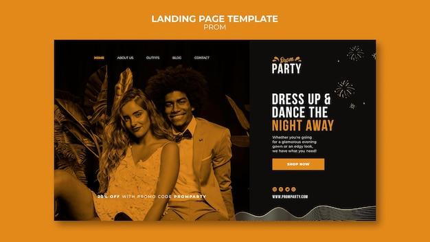 Modelo de página de destino do baile de formatura