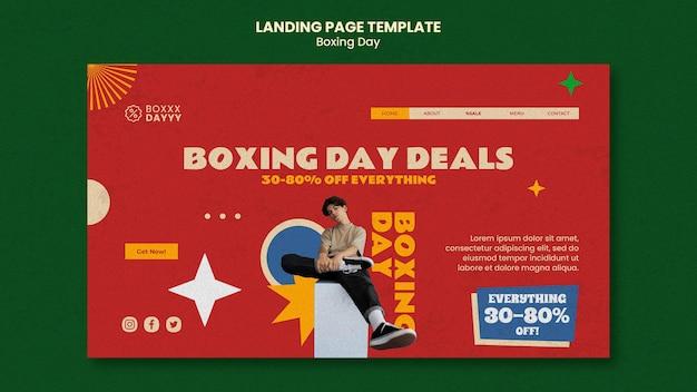 Modelo de página de destino do boxing day em cores retrô
