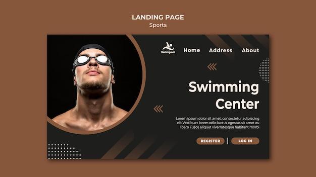 Modelo de página de destino do centro de natação