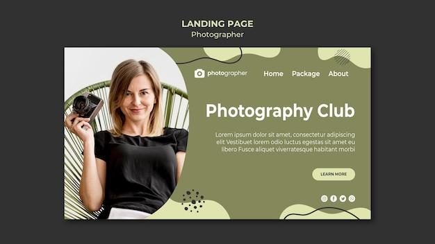 Modelo de página de destino do clube de fotografia
