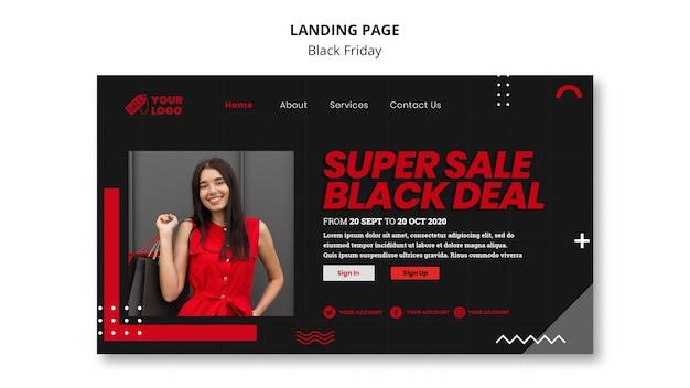 Modelo de página de destino do conceito black friday
