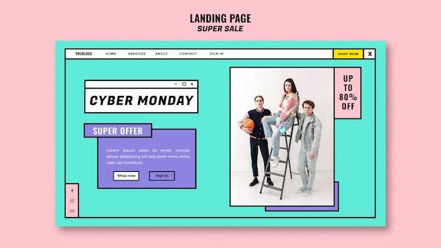 Modelo de página de destino do conceito cyber monday
