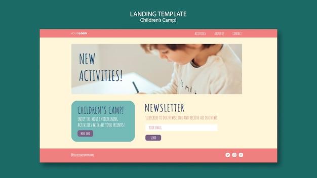Modelo de página de destino do conceito de acampamento infantil