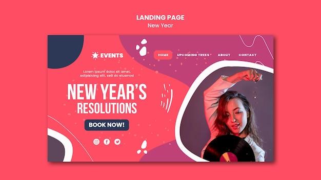 Modelo de página de destino do conceito de ano novo