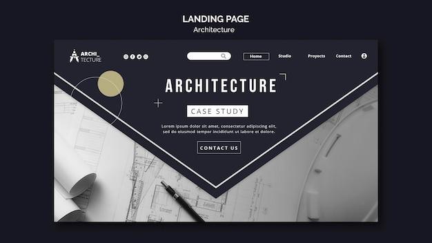 Modelo de página de destino do conceito de arquitetura
