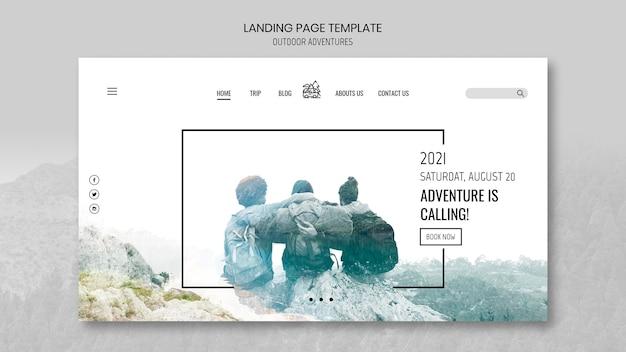 Modelo de página de destino do conceito de aventuras ao ar livre