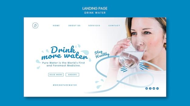 Modelo de página de destino do conceito de beber água