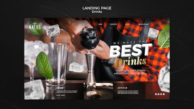 Modelo de página de destino do conceito de bebidas