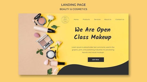 Modelo de página de destino do conceito de beleza e cosméticos