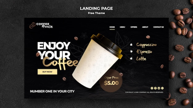 Modelo de página de destino do conceito de café