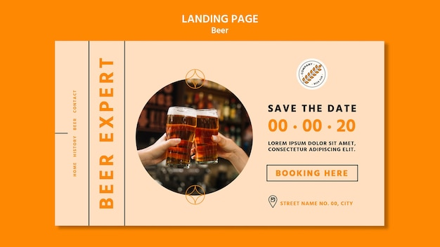 Modelo de página de destino do conceito de cerveja