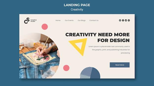 Modelo de página de destino do conceito de criatividade