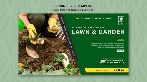 Modelo de página de destino do conceito de cuidado com o gramado