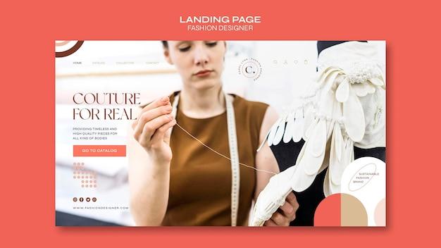 Modelo de página de destino do conceito de designer de moda