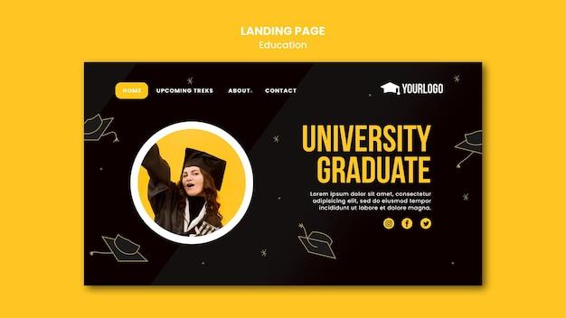 Modelo de página de destino do conceito de educação
