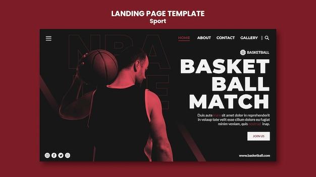 Modelo de página de destino do conceito de esporte