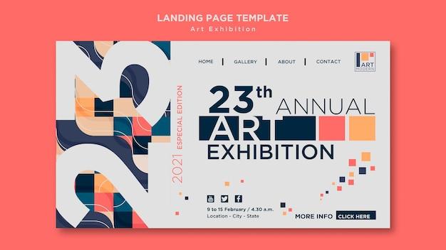 Modelo de página de destino do conceito de exposição de arte