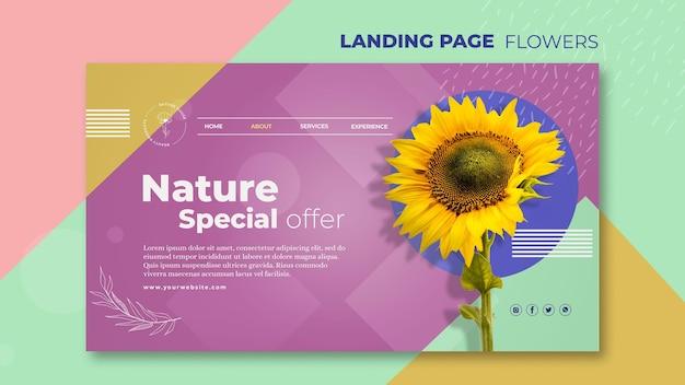 Modelo de página de destino do conceito de flor