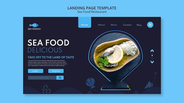 Modelo de página de destino do conceito de frutos do mar