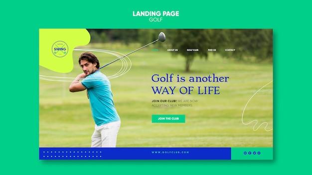 Modelo de página de destino do conceito de golfe