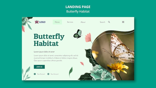 Modelo de página de destino do conceito de habitat de borboletas
