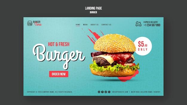 Modelo de página de destino do conceito de hambúrguer