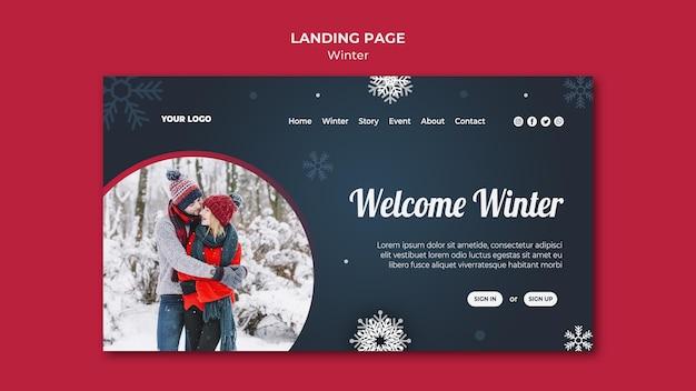 Modelo de página de destino do conceito de inverno
