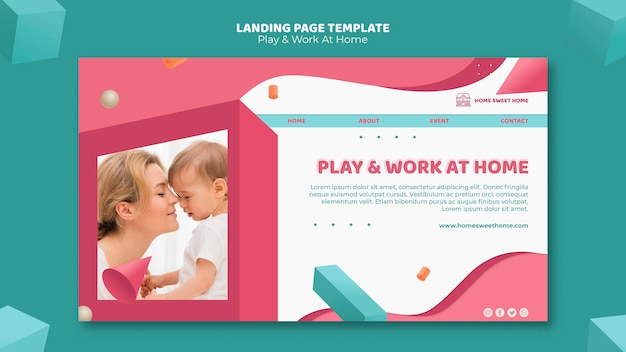 Modelo de página de destino do conceito de jogar e trabalhar em casa