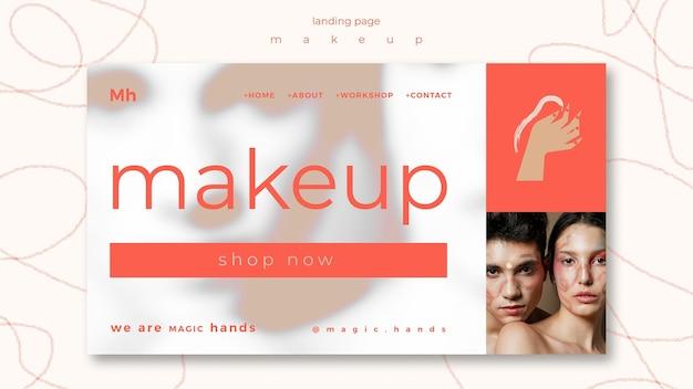 Modelo de página de destino do conceito de maquiagem