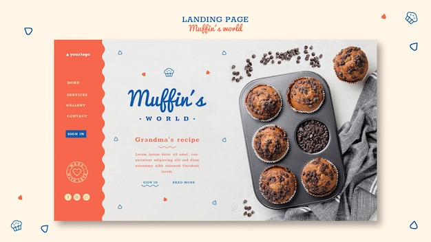 Modelo de página de destino do conceito de muffins