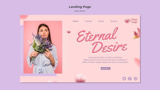 Modelo de página de destino do conceito de mulher bonita