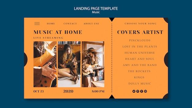 Modelo de página de destino do conceito de música