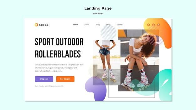 Modelo de página de destino do conceito de patins