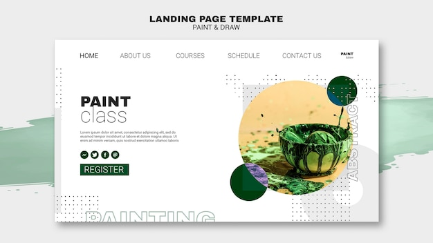 Modelo de página de destino do conceito de pintura