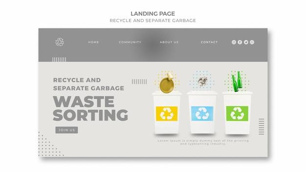 Modelo de página de destino do conceito de reciclagem