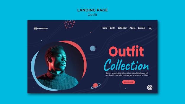 Modelo de página de destino do conceito de roupa