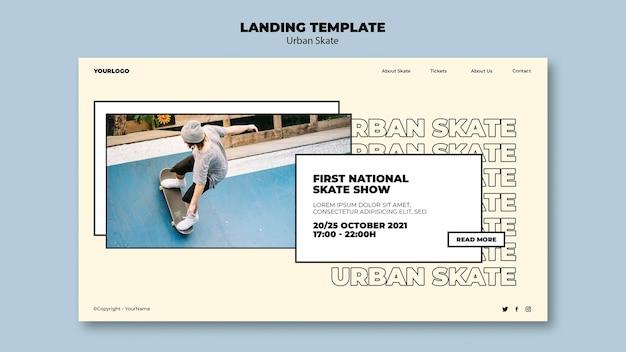Modelo de página de destino do conceito de skate urbano