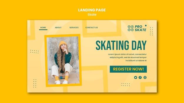 Modelo de página de destino do conceito de skate