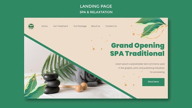 Modelo de página de destino do conceito de spa